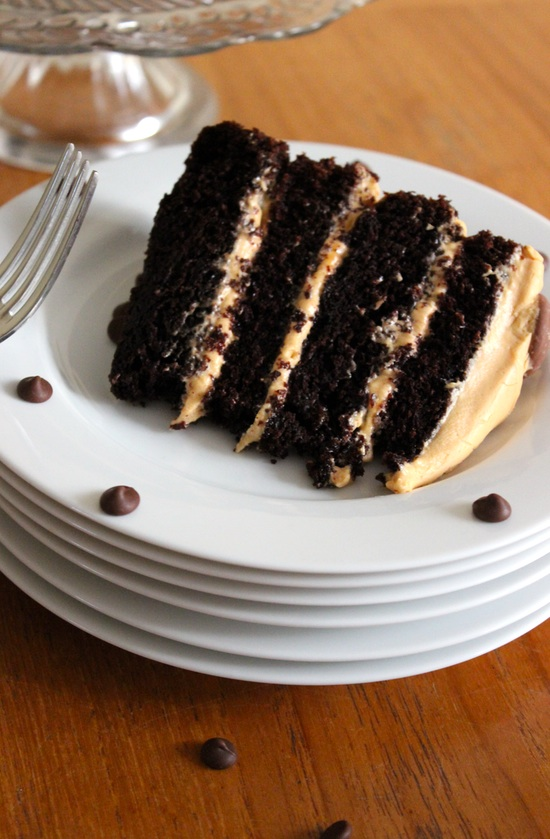 Chocolate Fudge Cake with Salted Caramel Buttercream Frosting