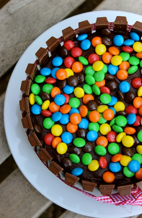 m and m cake above